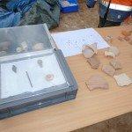 Quelques objets trouvés sur le chantier de 2010. Ceux trouvés actuellement sont en cours de traitement.